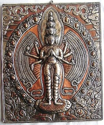 Very Fine Antique Handcrafted South Asian Embossed Panel Of Eternal