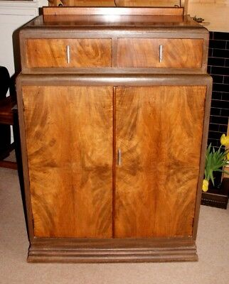 An Elegant Vintage Art Deco Walnut Cabinet, Two Drawers & Shelved Cupboard