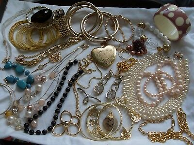 Lot Of Various Gold Plated/tone Costume Jewellery,bangles,earrings,necklaces