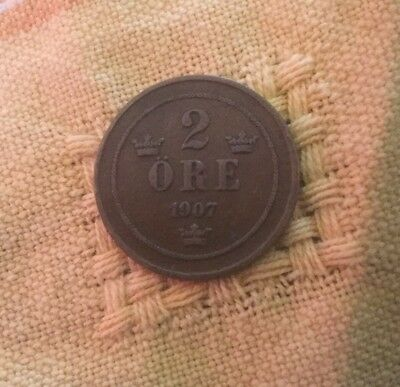 1907 2 Ore Sweden Coin Bronze Free Post
