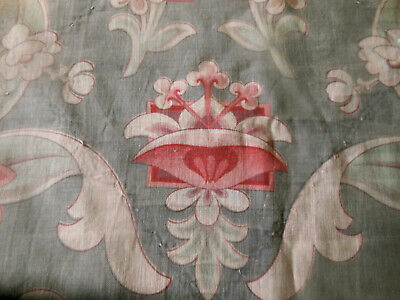 Antique French Art Nouveau Faded Floral Cotton Fabric ~ Red Pink Gray ~ Cutter