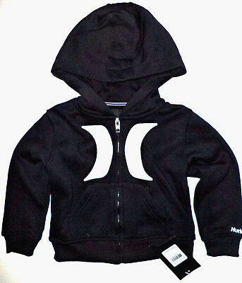 ✔NWT HURLEY Boys Toddler 2T Black Full Zip Fleece Hoodie Sweatshirt Jacket