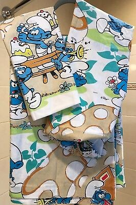 SMURFS~Smurf Collectable Twin Sheet Set Fitted/Flat/Pillow case Fabric Crafts