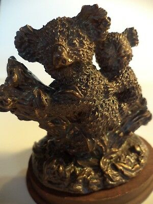 "4"" Bronze Resin Hand Painted Koala Bear & Baby Figurine Statue Sculpture"