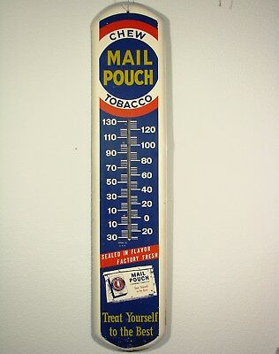 VINTAGE MAIL POUCH CHEW TOBACCO METAL THERMOMETER 1940-50s