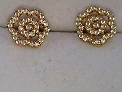 18 Carat Gold Fower with small Diamonds Stud Earrings
