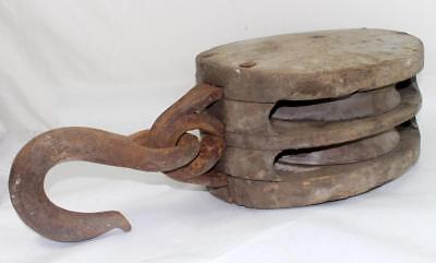 """Antique Large 14"""" Wood Nautical Ship Block Tackle Double Pulley & Hook"""