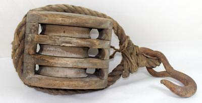 """Antique Large 10"""" Wood Nautical Ship Block Tackle Triple Pulley & Hook"""