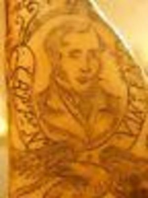 """Scrimshaw Resin - Replica Whale Tooth """"Capt Vincent"""" 3 1/4"""""""