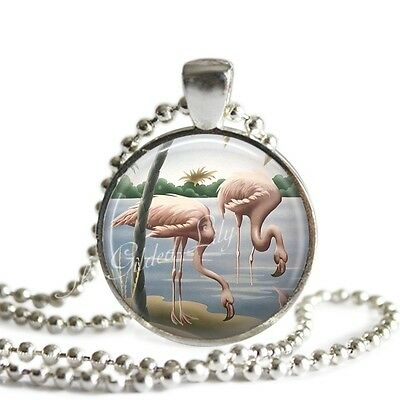 VINTAGE TURNER FLAMINGO PRINT Pendant Necklace, Handmade Glass Art Necklace