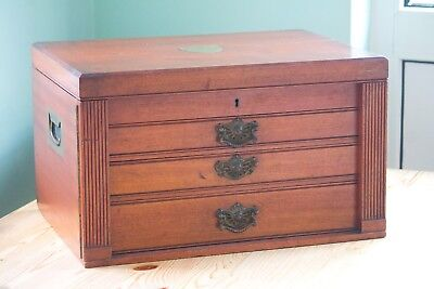 Antique Mahogany Collector's Cabinet, three drawers, Coins and Medals