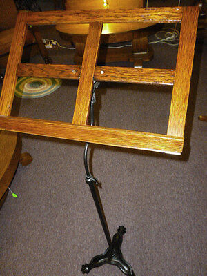 Antique Oak Stand Music, Art, cast iron claw feet base, ornate, refinished 1900