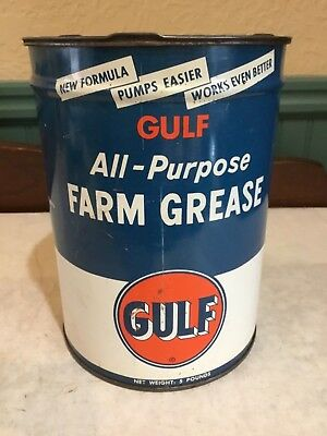 Rare Vintage Gulf Oil (Old Logo) All-Purpose Farm Grease 5Lb Metal Can (Empty)