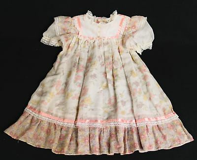 VTG Peaches N Cream Girl's Toddler Lace Bib Pink Floral Spring Easter Dress Sz 5