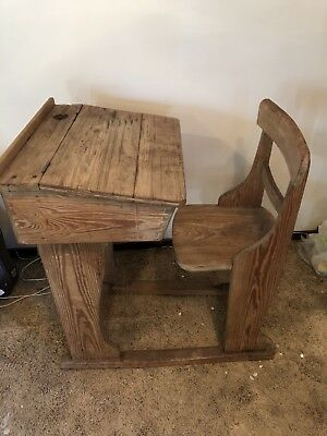 Vintage Antique Victorian Edwardian Childrens School Desk With Chair and Inkwell