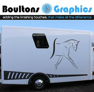Pair Dressage / Show Horse Sticker Pony Horsebox Trailer Decal Van Art Equine