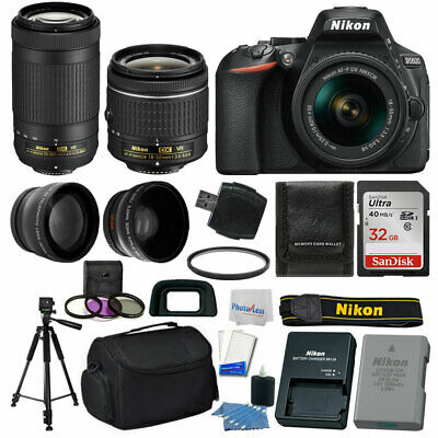 Nikon D5600 Digital SLR Camera +18-55mm VR +70-300mm VR +32GB +More Value Bundle