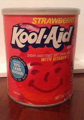 """Vintage unopened canister KOOL-AID """" strawberry drink mix collectible $$$$$"""