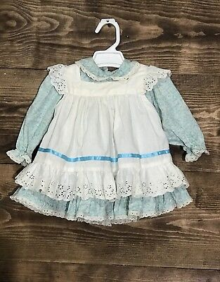 Vintage Blue Floral with Apron Pinafore Baby/Toddler Handmade 2 piece Dress