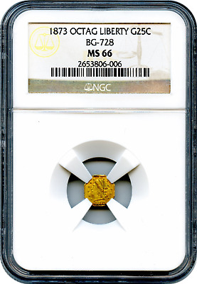 1873 California Fractional 25c BG-728 Octagonal Liberty NGC MS66