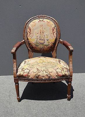 Vintage French Provincia Louis Ornate Carved Wood Tapestry Accent CHAIR