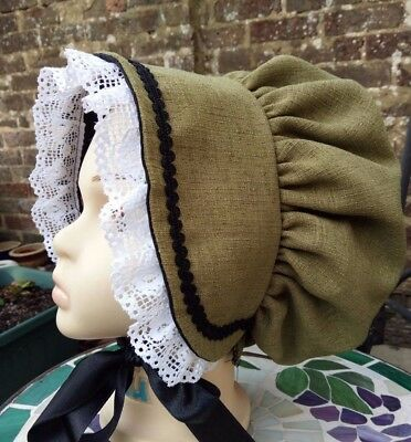 Girls VICTORIAN Green BONNET Edwardian Book day Costume Dickens Panto School
