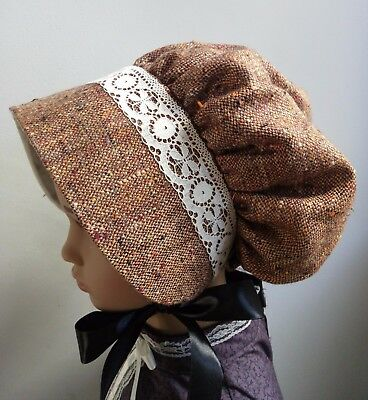 Girls VICTORIAN tweed BONNET Edwardian Country Costume Dickens School lace drama