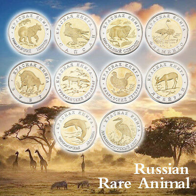 WR 1993-1994 Russian Gold/Silver Plated Coins 50 Rubles Bi-Metallic Wild Animal