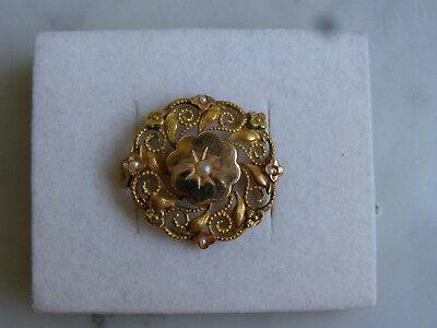BROCHE ANCIENNE EN OR JAUNE 18 K carats SERTIE PERLES FINES