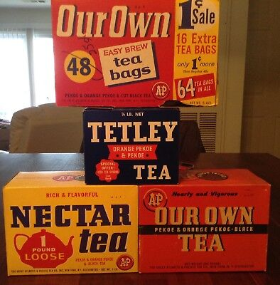 Vintage Lot of (4) collectible  A&P teas & Tetley  tea boxes 3 are full !!!! $$$