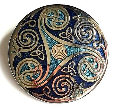 Celtic Lands fine enamel brooch with Box New Blue / Silver colour Sea Gems Pin