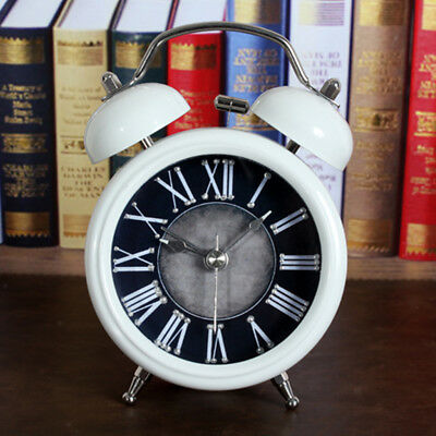 Retro Classic Non-ticking Twin Bell Alarm Clock Living Room Tabletop Decor C