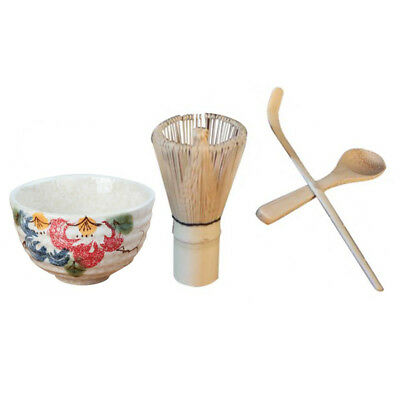 Japanese Bamboo Chasen Matcha Tea Whisk Teaspoon Tea Scoop Ceramic Bowl Set