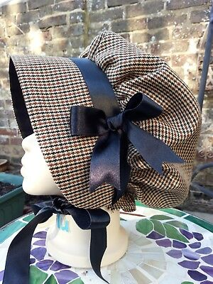 Girls VICTORIAN Check BONNET Edwardian Country Costume Dickens School drama bows