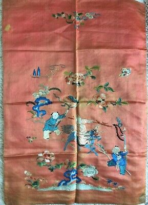 Peaceful antique chinese silk embroidered Dragon Figural Scene