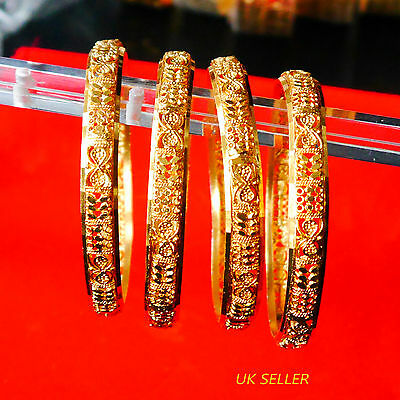 Yellow Gold Plated Bracelet Bangle Indian Women Ethnic Traditional Jewelry
