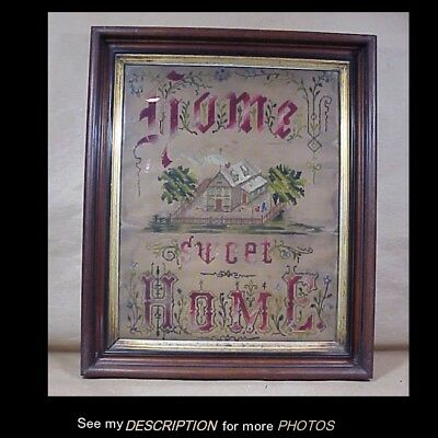 Punch Paper Needlepoint Walnut Shadowbox Framed Sampler MOTTO Home Sweet Home