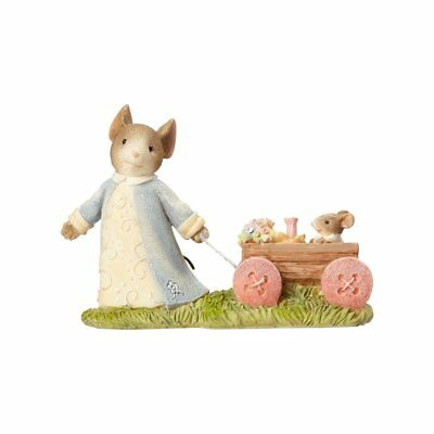 """Enesco Tails with Heart """"Mouse Pulling Wagon"""" Figurine (4060185)"""