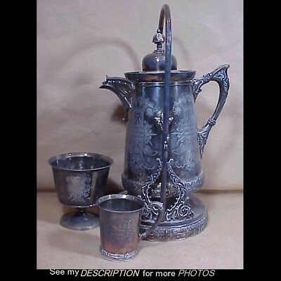 Antique Meriden B Silver Plate Aesthetic Tilting Water Pitcher Drip Cup and Mug