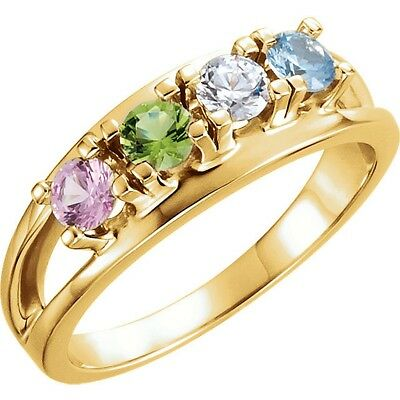 Made to Order 14K Yellow Gold Mother's Ring Crystal Birthstones  1 - 7 Stones