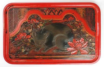 CHINESE LACQUERED WOOD TRAY CARVED CAT SIGNED c1920