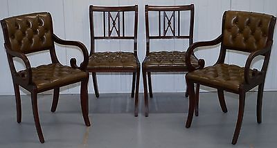 4 Mahogany Beresford & Hicks England Dining Chairs Chesterfield Leather Hide