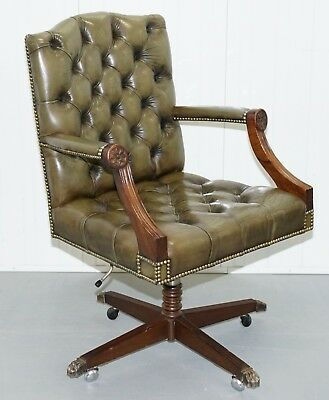 Rare 1960's Bevan Funnell Directors Green Leather Chesterfield Captains Chair