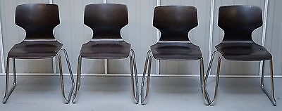 Set Of Four Rare 1970 Pagholz Fpf Elmar Flotto Stacking Dining Chairs Nice Find