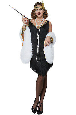 Pearls Headband 20/'s FLAPPER COSTUME COMPLETE Charades Fashion 0768 Black Boa