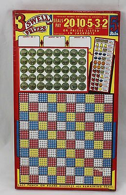 Vintage Unpunched Gambling Punch Board Trade Stimulator 3 Swell Prizes Seals Pay