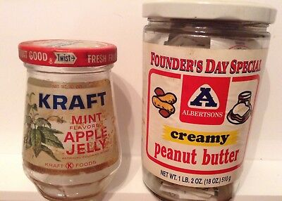 Vintage Kraft Mint Jelly, Albertson's collectible peanut butter glass jars $$$$