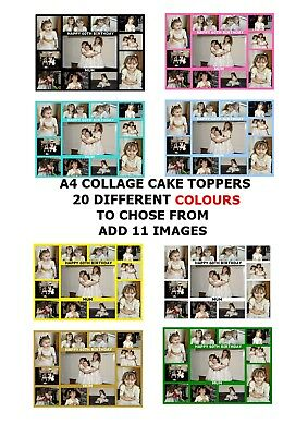 Own Personalised Collage Photo Design A4 Edible Cake Topper Custom Made Make