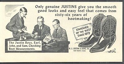 The Justin Boys in 1 Ad of Justin Boots Magazine Print Photo/Art Ads