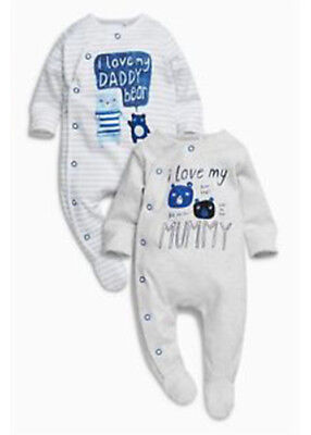 Baby Boy Love My Mummy Daddy Bears Sleepsuits/ Babygrows  3-6 Months NEXT